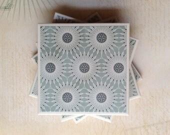 Coasters Blue Flowers , Felt-Backed, Water-proof, Tile, Set of Four, SALE