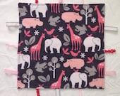 Baby Taggie Blanket- Minky & flannel animal print
