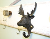 Hunter's Hat Rack, Moose, Man Cave, Knobs and Hooks