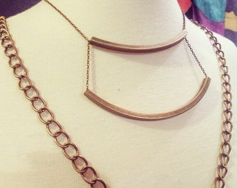 Double Box Pipe Necklace