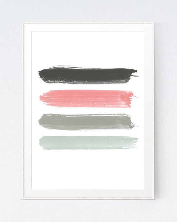 Pink And Grey Paint Strokes