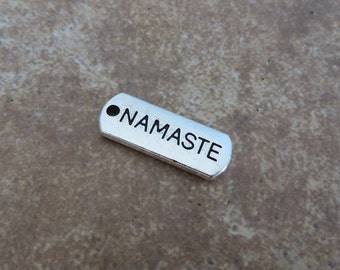 8 NAMASTE Charms Tags Divine Greeting Blessing Silver Tone Spiritual Charm Jewelry 21x8 mm