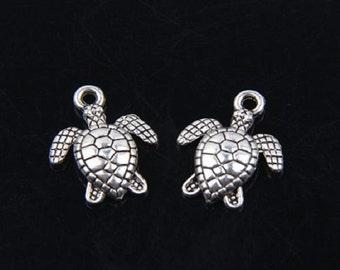 60 Little SEA TURTLE Charms Mini Sea Ocean Life Beach Cruise Atq Silver Tone Small Turtles Charm Jewelry About 13x16 mm