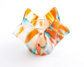 Colorful Fused Glass Candle Holder, Small Flower Vase, Orange and Turquoise, Votive Candle, Tea Light Holder, Retro Decor, Hipster Gift