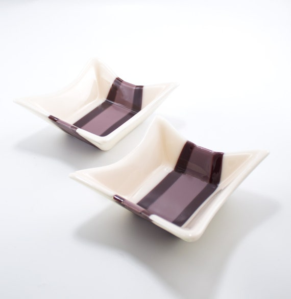 Items similar to unique square fused glass bowls set of 2 for Purple glass bathroom accessories