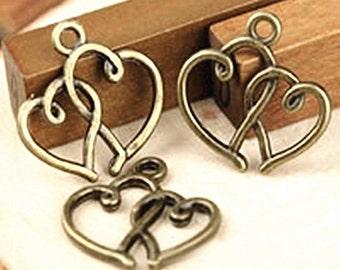 12pc 20x19mm antique bronze finish double heart pendants-B34