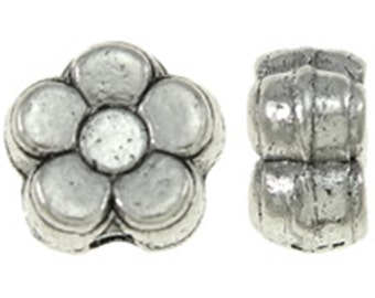 50pc 5.5mm antique silver finish flower shape beads-9508