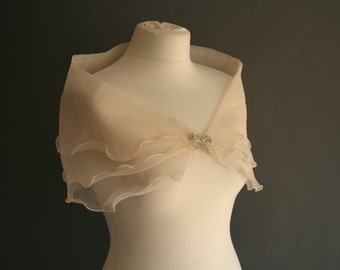1950s Tulle Capelet with Diamonte Bow Fastening XS