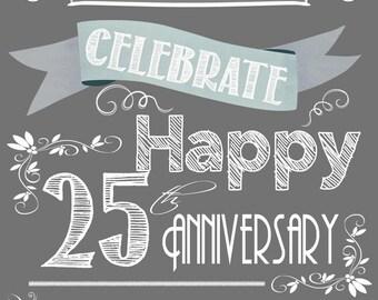 Wedding Wine Labels, Custom Wine Labels, Wine Wedding favor, Anniversary labels -25th Anniversary -6 labels, Sparkling Cider, Champagne PDF