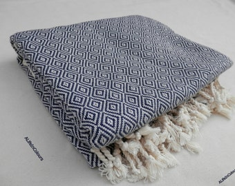 Dark blue colour Turkish peshtemal diamond patterned bath towel, beach towel, spa towel, travel towel.