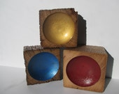 Metallic Wooden Bowls Hand Painted Created from Oak Barn Beams, Distressed Sides - Set of 3  (3SHRWPB)