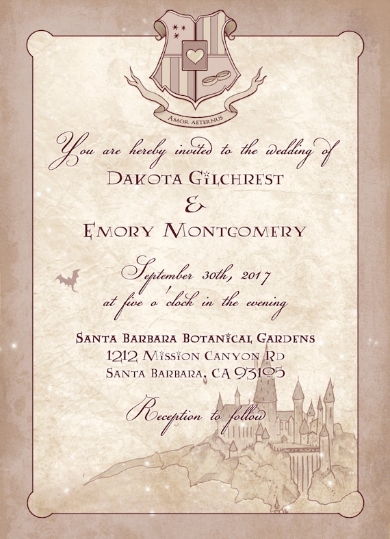 Harry Potter Wedding Invitations Digital Geeky Custom
