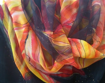 Chiffon Scarf for Ladies Flames of Inspiration. Hand Painted in Scarlet, Orange, Yellow, Black. Festive  Luxury Chiffon Scarf  18x71 inch