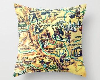 Colorado Pillow Cover, Colorado Gifts, Decorative Pillow, Colorado Pillow,  CO Map Pillow, Denver, Boulder, Southwest Decor, Southwest Gifts
