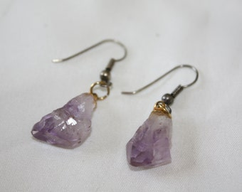 Amethyst Gemstone Earrings Drop Dangle 1970s Estate  Jewelry