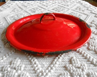 Vintage enamel lid, red  enamel lid , collectible,home decor, wall decor, kitchen decor