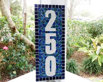 Address Plaque -- Blue and Teal Mosaic House Number Sign
