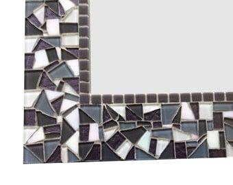 Gray and White Bathroom Mirror, Mosaic Wall Mirror