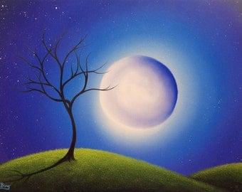 Giant Full Moon Art Print, Moon Nursery Art, Good Night Moon Whimsical Art Landscape, Lunar Moon Print, Starry Night Kids Room Wall Decor