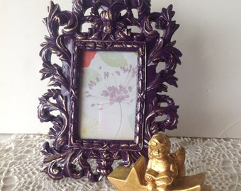 Ornate Plum Frame with Gold Highlights  / 4 x 6 French Inspired Table Top