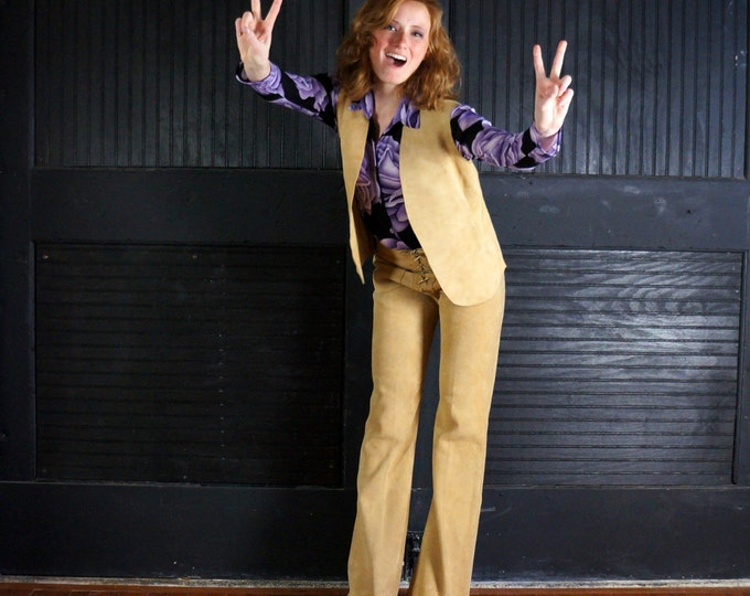 Suede Bell Bottom Pants & Vest Set 1960s Vintage Lace Up Fly Trousers Flare Leg Sturdy Leathers 60s Hippie Boho Rock N Roll Clothing Unisex