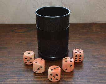 Vintage dice with cup Yahtzee