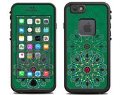 Skins FOR the Lifeproof iPhone 6 Case (Lifeproof Case NOT included) - Mandala circle repeated on green - Free Shipping