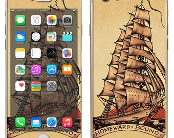 iPhone 6 ~or~ iPhone 6 Plus + : Pirate Ship Tattoo Style Sailor Ship Boat nautical - Free Shipping - NOT a HARD case