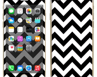 iPhone 6 ~or~ iPhone 6 Plus + : Black and White Chevron Print - Free Shipping - NOT a HARD case