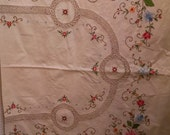 Vintage Embroidered, Appliqued, and Crocheted Tablecloth