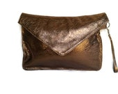 Metallic Leather Envelope Clutch Bag - Evening Wristlet Purse - Elegant Fashion and Unique Large Clunch  Handmade - Jacky