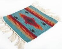Mini Navajo Rug Small Blue Rug Southwestern Rug