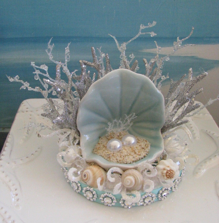 Elegant Seashell Coral Beach Wedding Cake Topperpearl Open