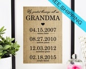 Personalized Mother's Day Gift for Grandmother | Grandma Gift | Mothers Day Burlap Print | Grandchildren Birth Dates Wall Art