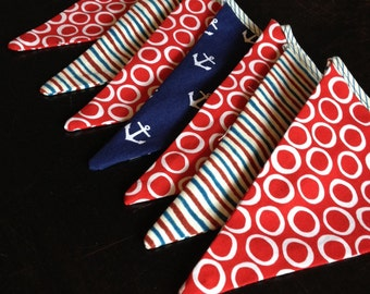 Red and Navy Blue Flags Garland