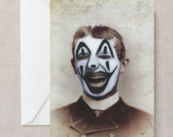 Old Photograph Vintage Funny Juggalo Face Paint Print Post Card