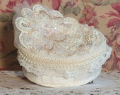 Small Victorian Round Keepsake / Trinket Box - Vintage Style - Handmade / OC-1