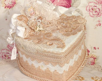 Victorian Tea Stained Hand Decorated - Trinket/ Hat Box- Vintage Style VHB-1