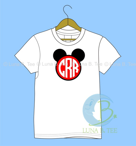 Monogram Disney TSHIRT Printed Mouse Ears Personalized Name T Shirt Girls Boys Tee Baby Onesie High Quality Mickey Minnie  Shirt