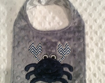 Grey and Navy Crab bib