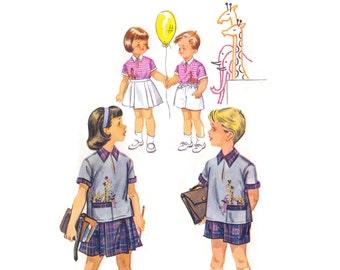 1950s Childrens Pattern McCalls 2031, Shirt w/ Giraffe & Elephant Applique, Girls Skirt Boys Shorts, 1955 Vintage Sewing Pattern Size 2