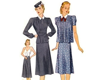 1930s Maternity Pattern Simplicity 3153 2 Piece Dress: Pleated Smock Top, Camisole Slip Wrap Skirt, 1939 Vintage Sewing Pattern Bust 30