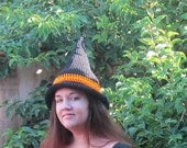 Custom Order for StereoMono Crochet Wizard Hat Black and Tan