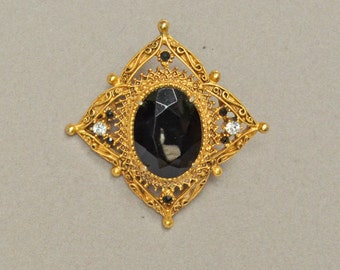 Insanely Beautiful FLORENZA Pin/Brooch Pendnt 18k Gold Plated Filligree Black Cabochon Swarovski Rhinestones Signed