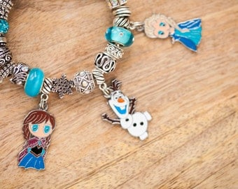 Disney Frozen Themed Charm Bracelet with Olaf, Elsa, and Anna Charms