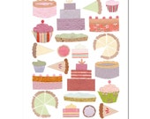 Cakes and Pies - Greeting card designed with Japanese paper collage