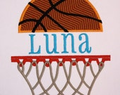 Split Basketball and Net, Applique Embroidery Design INSTANT DOWNLOAD