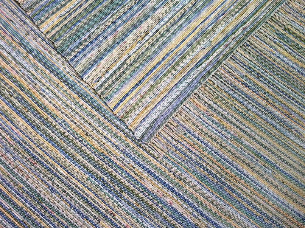 8x10 Rag Rug Yellow Blue Green Aquamarine Floral And