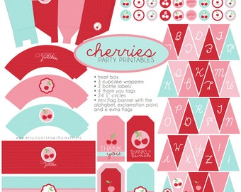 Cherry Birthday Party Printables PDF - Printable Party Supplies - Pink and Red Cherries Birthday DIY