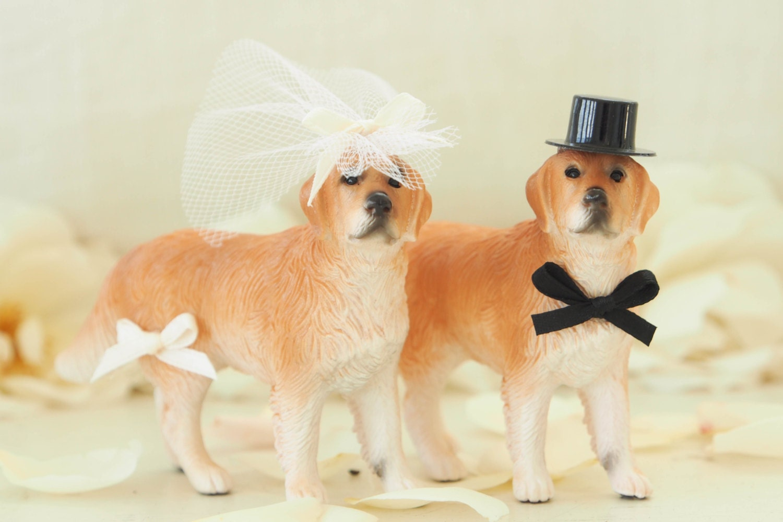 Dog Cake Topper Wedding Bride & Groom Animal by